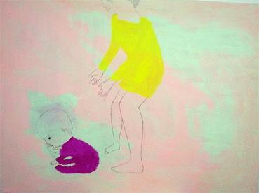 """Katja Tukiainen: """"keltainen ottaa kiinni violetin""""."""