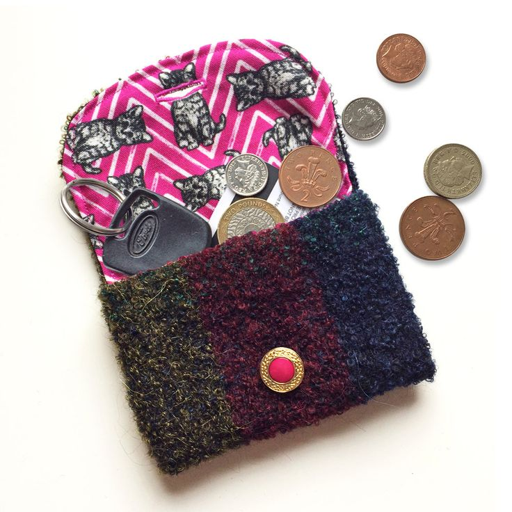 Kitty Purse ~ pink cat coin purse, reversible wool card pouch, cat lover gift, unique stocking filler for her, cute cat present for girl by BitterLimeDesigns on Etsy