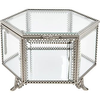 Silver Tone Mirrored Jewellery Box