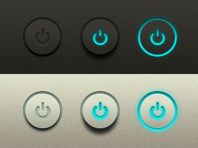 Power Buttons Freebie UI.  Some pixel-perfect power buttons for your next design by by Michael Donovan.