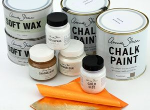 The Complete Furniture Painting Kit  Two litre pots of your colour choice, 500mls clear wax, 500mls dark wax, book of brass leaf, 100mls gold size, 100mls decoupage varnish, crackle varnish set.