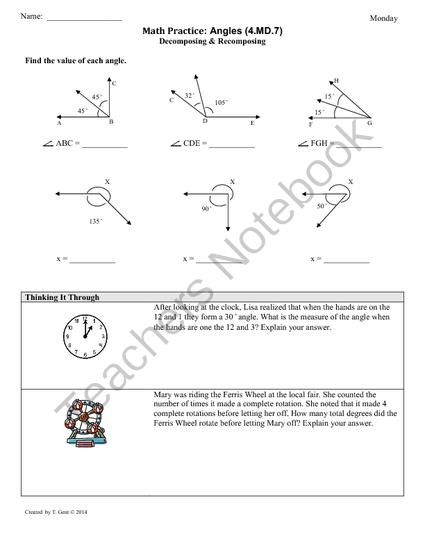 4 md 7 angle measurement 4th grade common core math worksheets from commoncoreresources on. Black Bedroom Furniture Sets. Home Design Ideas