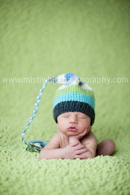 Boy Girl Baby Hat PHoTO PRoP FCN tassel cap for the Fashion Conscious NeWBORN Knit to Order UNiGENDeR PRECIOUS aqua celery cream grey stripe. $32.00, via Etsy.