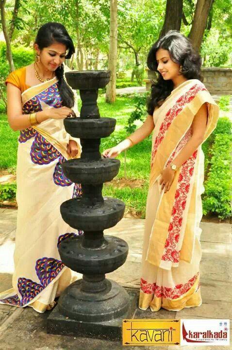Kerala saree with work ethnic pinterest kerala saree for Asha ramachandran mural painting