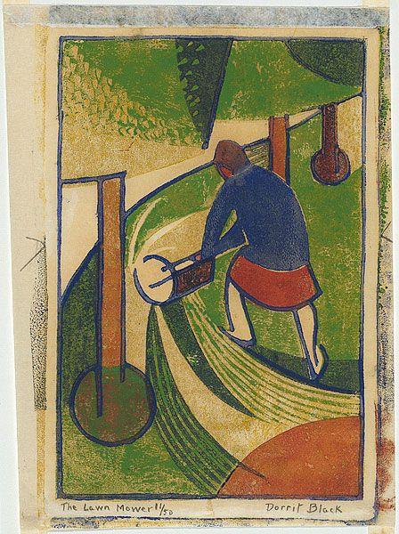 The lawn mower, ca. 1932, Dorrit Black (Australia 1891 – 1951) ink; paper linocut, printed in colour inks, from four blocks