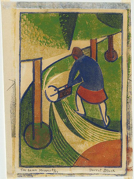 The lawn mower, ca. 1932, Dorrit Black (Australia 1891 – 1951) ink; paper linocut, printed in colour inks, from four blocks