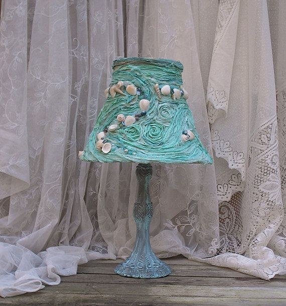shabby chic turquoise beach cottage bedroom lamp. Black Bedroom Furniture Sets. Home Design Ideas