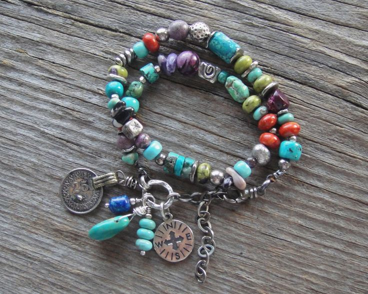 Artisan Jewelry, Handcrafted Double Wrap Bracelet, Turquoise, Silver Stitchtite, Rustic, Handmade, Sundance Style. $140.00, via Etsy.