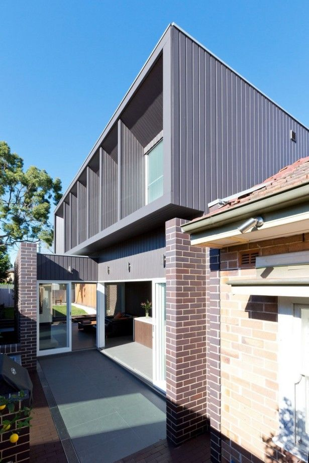 Architecture, Side View G House Natural Brick Pattern Wall Glass Sliding Door Concrete Floor Grey Wooden Wall Glass Window White Wooden Window Frame: Modern Architecture Homes Plans of G House in Sydney
