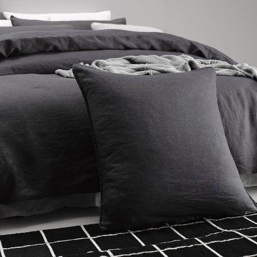 Vintage Washed Linen Quilt Cover Coal