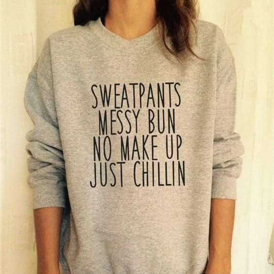 Sweatpants Messy Letters Printed Funny Pullover Tumblr Sweatshirt
