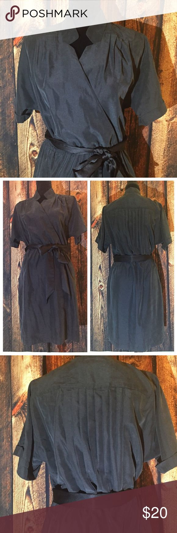 LOFT Dress with Pleated Back His dress has tons of amazing detail. The fabric is extremely soft: modal/poly blend. Belt is black, dress is very dark gray. Pleated back. No trades. LOFT Dresses