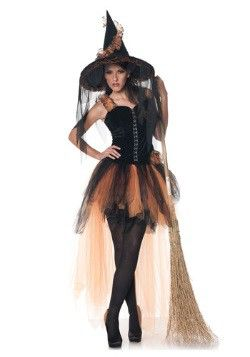 Hollow's Eve Womens Orange and Black Witch Costume