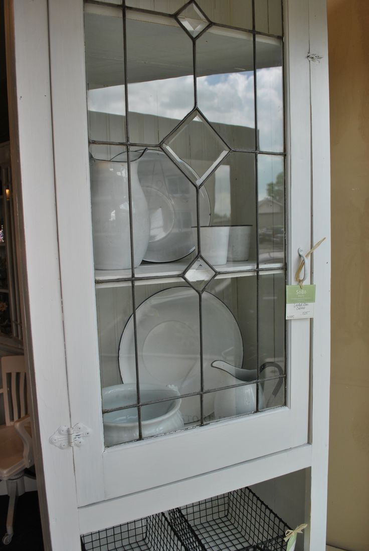 White leaded glass cabinet sobo style window pane for Glass kitchen cabinet doors