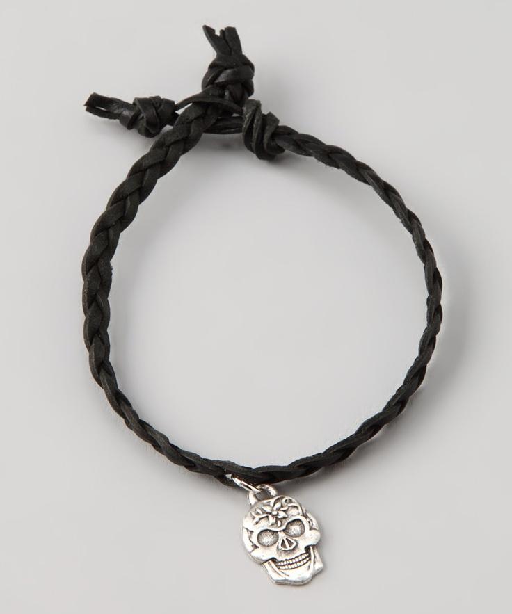 dream mullick collection black silver plated skull bracelet