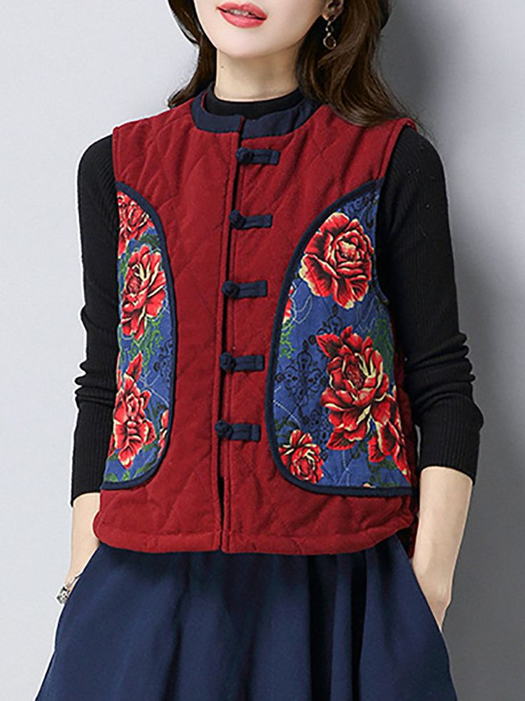 Folk Style Women Printed Chinese Frog Sleeveless Vest Coat - Newchic Plus Size Outerwear