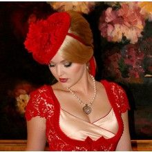 La Fille en Rouge Fascinator - $129.00
