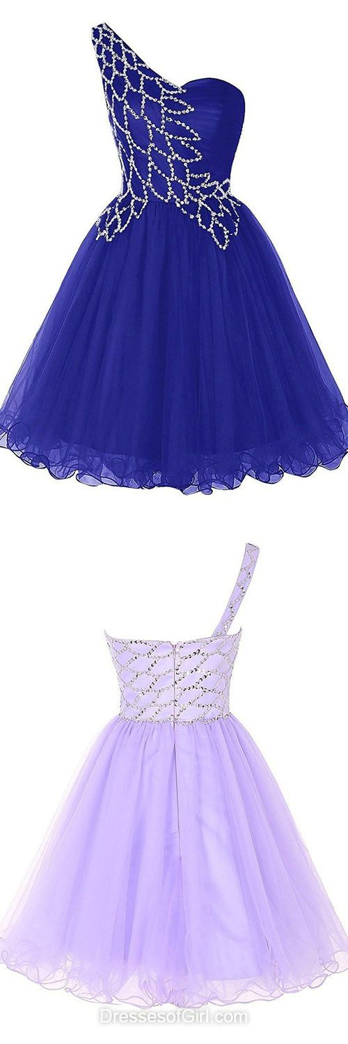 Sexy Prom Dress,Royal Blue Homecoming Dress,Tulle Prom Gown,Short Prom Dresses,One Shoulder Cocktail Dress,Beading Party Dresses