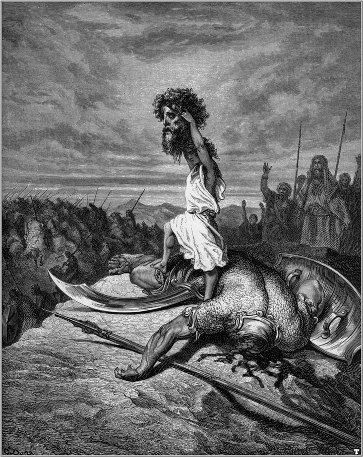"Gustave Doré - ""David & Goliath"" (1866) - Illustration de la Bible, Ancien Testament, Premier Livre de Samuel 17:50."