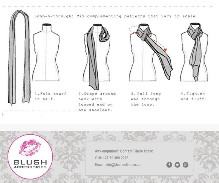 Tired of wearing yoru scarf the old boring way? Try out this 'Loop-n-Through' method and make things a little more exciting. And remember, you can find a wide selection of scarves at you favourite #Blush Store. #george #mosselbay #stellenbosch #fashion