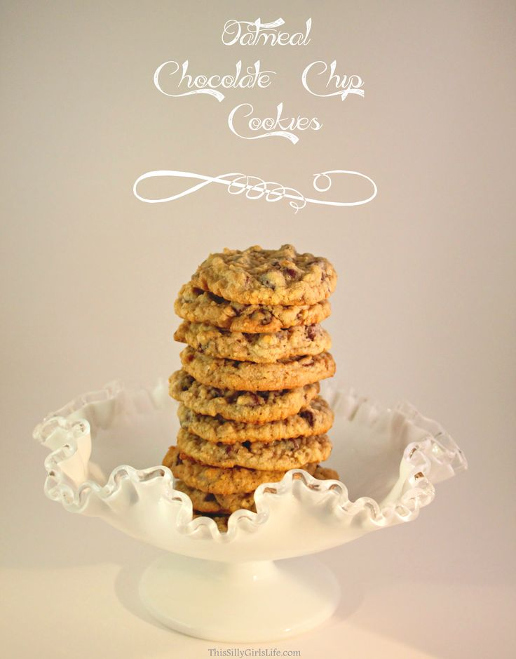 Oatmeal Chocolate Chip Cookies recipe from http://ThisSillyGirlsLife.com