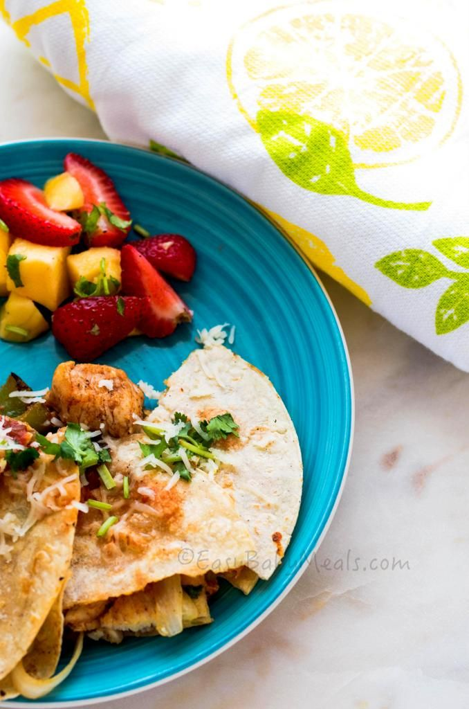 These delicious Chicken Quesadillas are a quick meal for kids and grown-ups. #familymeals #kids www.easybabymeals.com