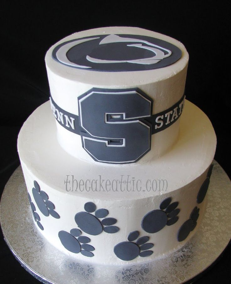 Groom's cake for a Penn State alumnus. Buttercream cake with fondant decorations by thecakeattic.com in Salisbury, NC | PSU Nittany Lion Wedding Ideas