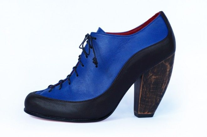 Preston Zly High Rock climber in Cobalt and black with polished wooden heel. We use strong clean and curvaceous lines to create a stunning lace up style. http://prestonzly.com/Collections/Axis/High-Rock-Climber