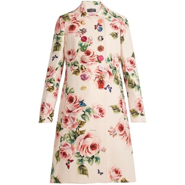 Dolce & Gabbana Rose-print double-breasted wool-blend coat (339,030 INR) ❤ liked on Polyvore featuring outerwear, coats, pink print, double breasted coat, butterfly coat, wool blend coat, floral print coats and floral coat