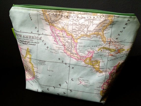 Vintage Map wash bag by Rhodalily on Etsy, £15.00