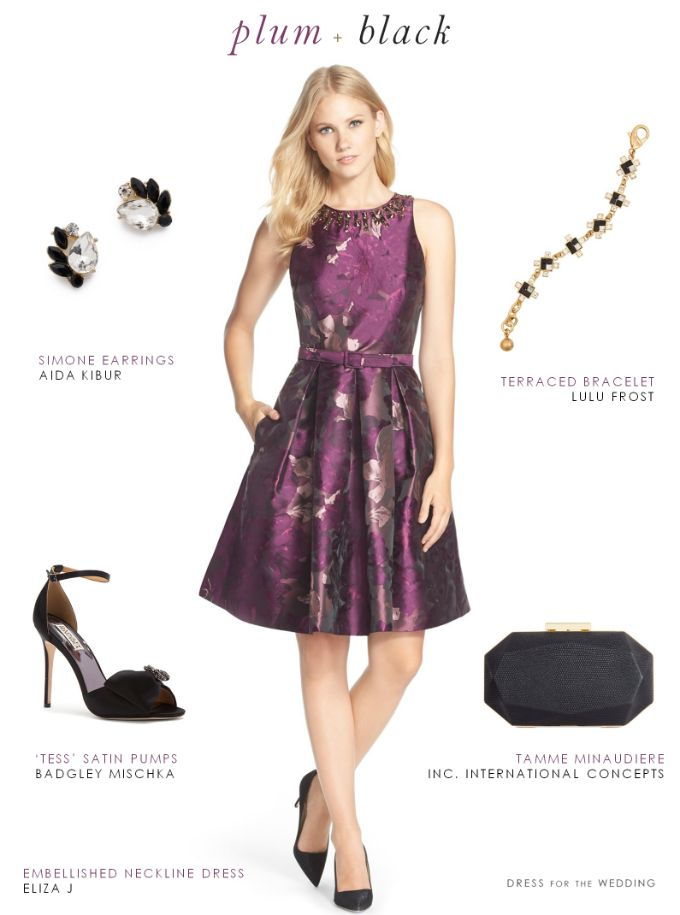 Purple And Black Dress For A Wedding Guest Dresses Pinterest Flare Fit