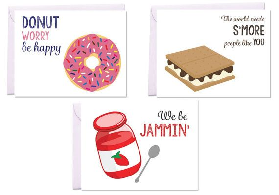 Puns, Kitchen Puns, Kids' Desserts Set of 3 Greeting Cards -- Donut, S'more, and Jam