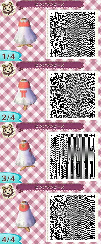 Animal crossing new leaf pink and white dress qr code
