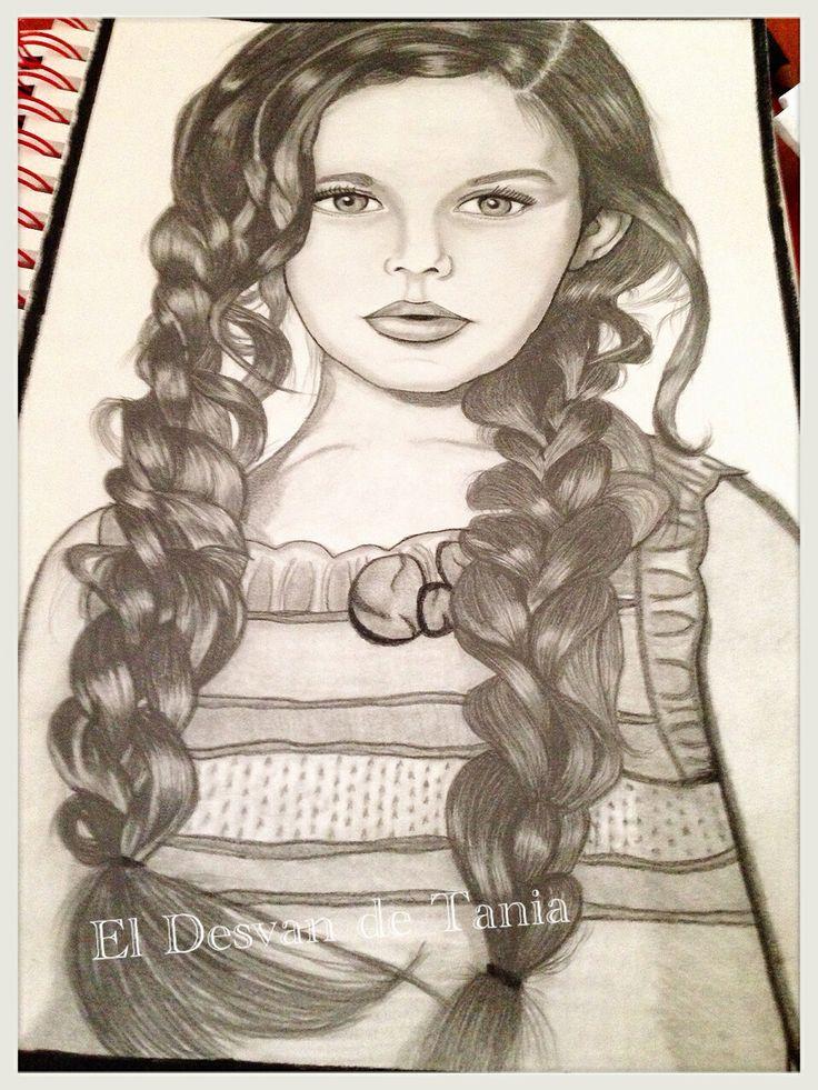 Retrato a lápiz niña trenzas