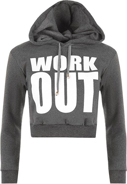 WearAll Women's Cropped Short Work Out Print Long Sleeve Hoodie - Dark Grey - US 4-6 (UK 8-10): Amazon.ca: Clothing & Accessories
