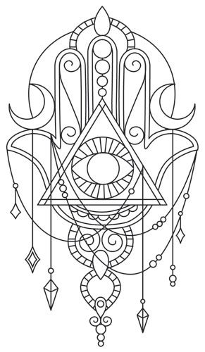 Long believed to contain magical properties ensuring good luck for the possessor, this beautifully draping hamsa talisman can adorn your wardrobe, decor, and more! Downloads as a PDF. Use pattern transfer paper to trace design for hand-stitching.