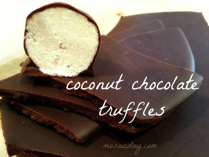Simple, nutritios, paleo, vegan - Coconut Chocolate Truffles!  #homemadechocolate   #chocolatetruffles   #coconutoil   #paleovegan