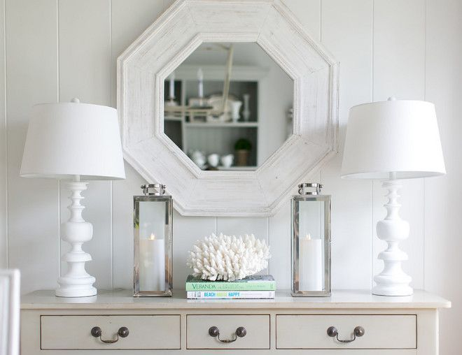 Neutral Dining Room Console Table Decor This Beautifully Decorated Features Vertical Shiplap Paneling