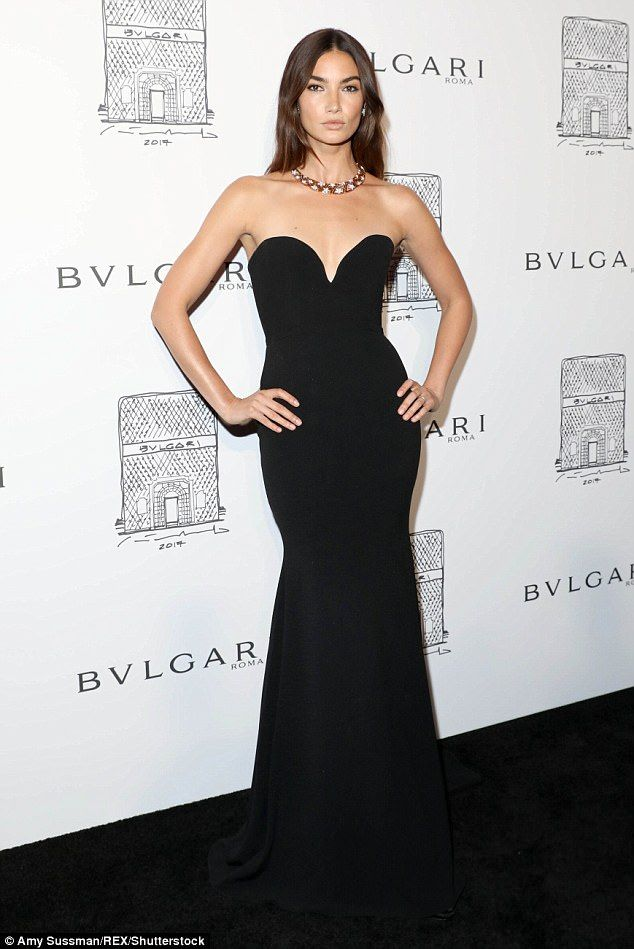 Fancy: Lily Aldridge stepped out looking incredible in a strapless black gown for the Bvlg...