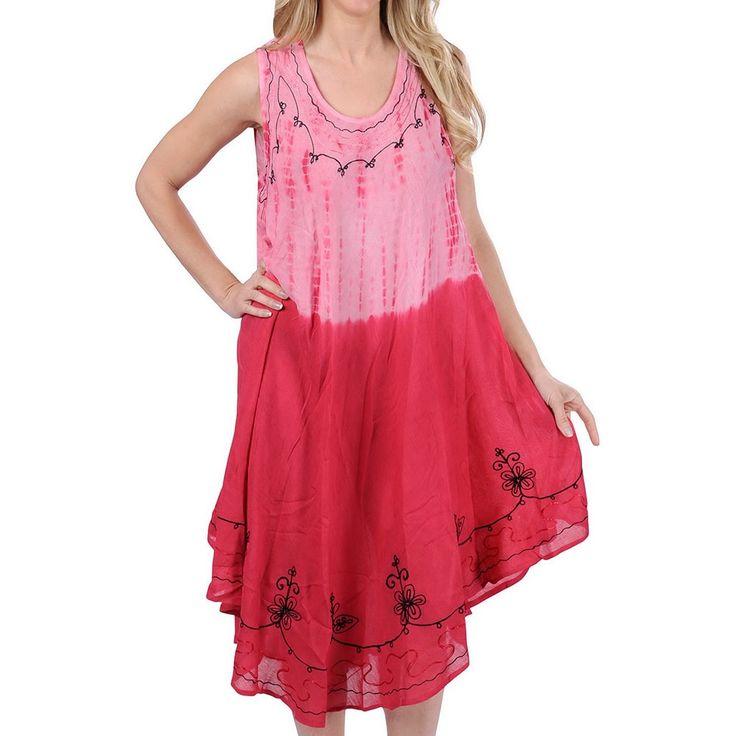La Leela Short Beach Dress Coverup Hand Tie Dye Designer Swimwear