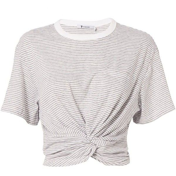 T by Alexander Wang Women's Twist Detail Striped Tee found on Polyvore featuring tops, t-shirts, shirts, camisas, short sleeve tee, white cotton t shirts, striped t shirt, striped crop top and white tops