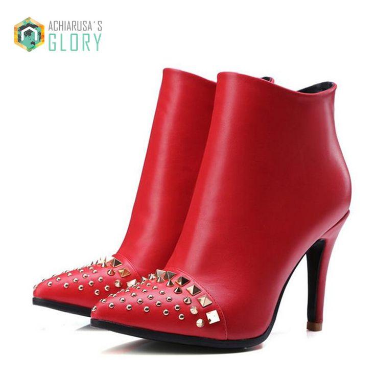 Rouge bas talons hauts Cheville Bottes pour Femmes En Cuir Véritable PU plate forme mince Talon Bout Pointu rivet bottes Courtes Chaussures grande taille dans Bottines de Chaussures sur AliExpress.com | Alibaba Group