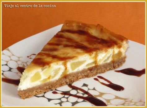 Receta de: Tarta de peras y queso fresco [Peras Rincón del Soto]. Blog 'Viaje al centro de la cocina'.