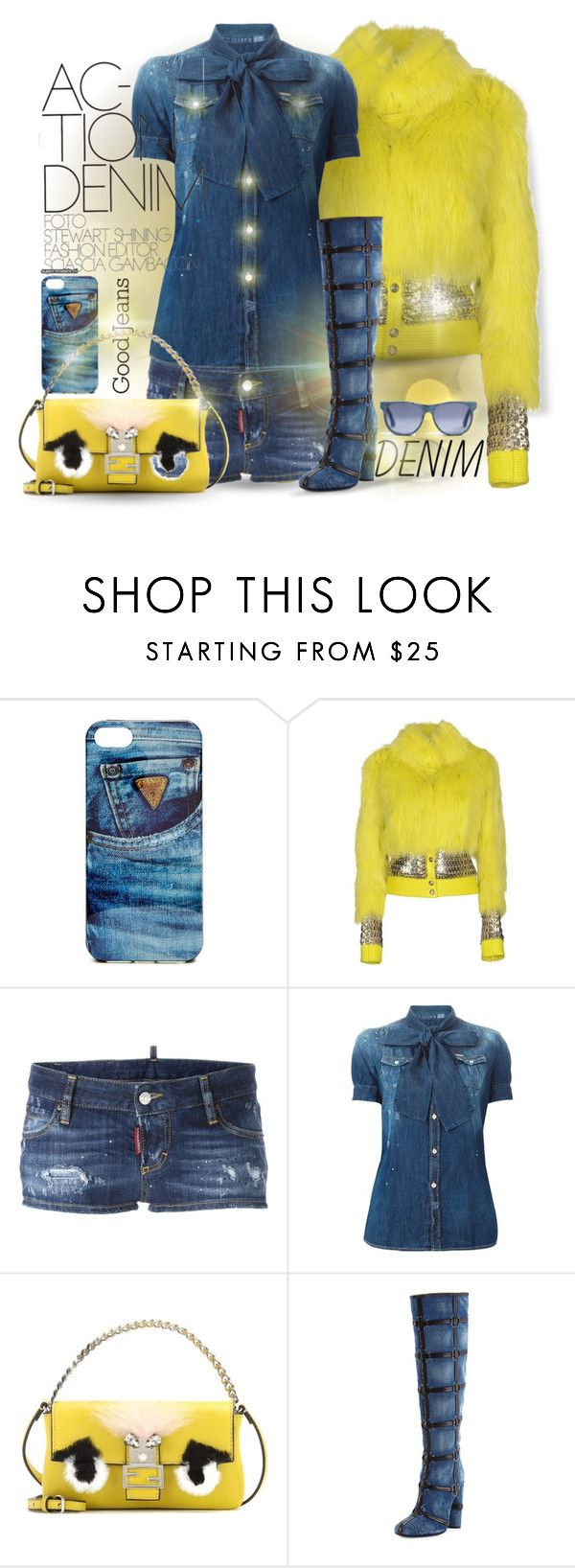 Distressed Denim by falticska-cerasella on Polyvore featuring moda, Dsquared2, Versus, Tom Ford, Fendi, GUESS, women's clothing, women's fashion, women and female