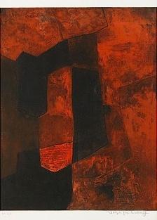 SERGE POLIAKOFF1900-1969 Composition Brune et Rouge