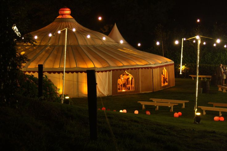 Our Grand Pavilion with festoon lighting.