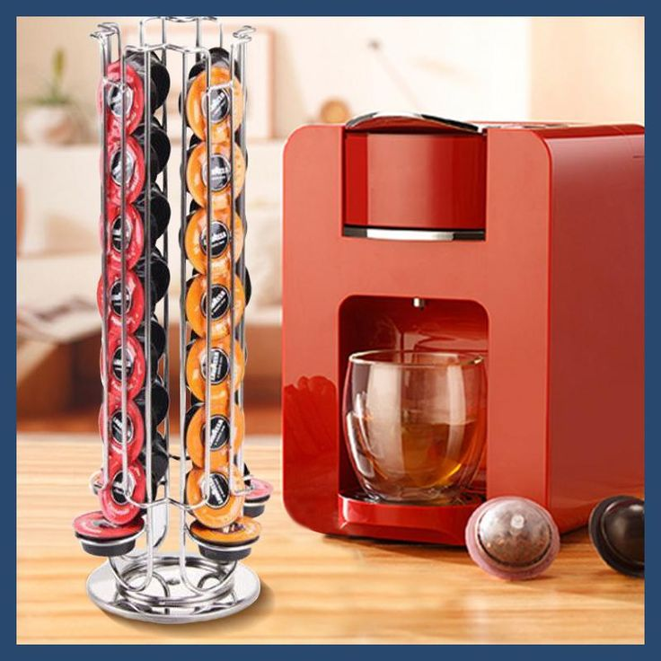 YONTREE 1 Pc 32 Cups Rotatable Lavazza mio Coffee Capsules Shelf Stainless Steel Plating Storage Racks H5125F09