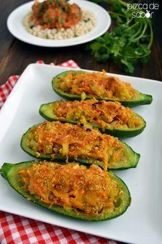 Calabacitas gratinadas rellenas de vegetales www.pizcadesabor.com