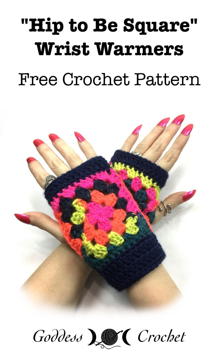 Fingerless gloves darn yarn -  Hip To Be Square Wrist Warmers Free Crochet Pattern