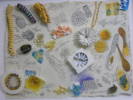 Jacqueline Ryan - jewellery artist, her sketches and paper models are so inspirational.  This was shown alongside her work by the Scottish Gallery (http://www.scottish-gallery.co.uk/artist/jacqueline_ryan/)